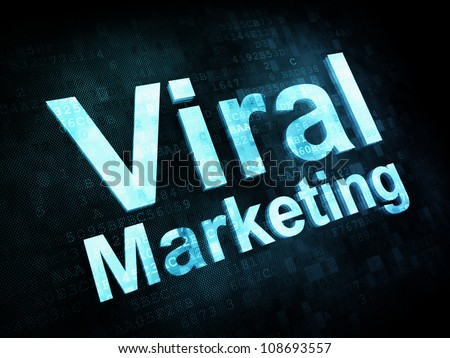 Marketing concept: pixelated words Viral Marketing on digital screen, 3d render - stock photo