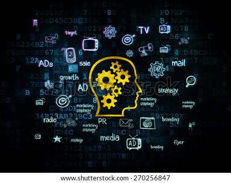 Marketing concept: Pixelated yellow Head With Gears icon on Digital background with  Hand Drawn Marketing Icons, 3d render - stock photo