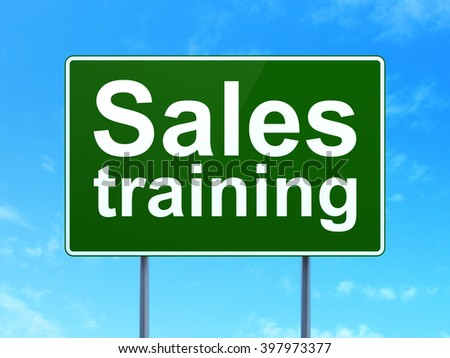 Marketing concept: Sales Training on green road highway sign, clear blue sky background, 3d rendering - stock photo