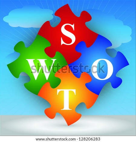 Marketing or Business Concept Present By Four Pieces of Colorful SWOT Puzzle in Blue Sky Background - stock photo