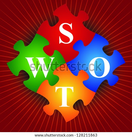 Marketing or Business Concept Present By Four Pieces of Colorful SWOT Puzzle in Red Shiny Background - stock photo