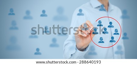 Marketing segmentation, target audience, customers care, customer relationship management (CRM), customer analysis and focus group concepts. Wide banner composition.