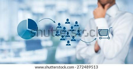 Marketing strategy - segmentation, targeting, and positioning. Visualization of marketing strategy process, office in background.  - stock photo