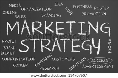 Marketing strategy word cloud written on a chalkboard - stock photo
