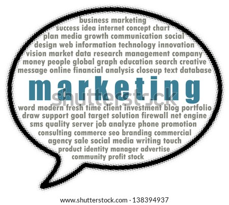 Marketing word collage in speech bubble - stock photo