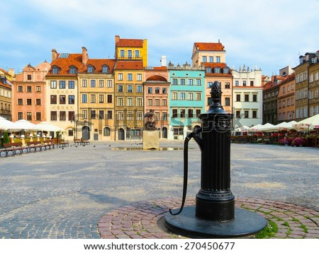 Marketplace square and colorful houses in Old Town, Warsaw, Poland - stock photo