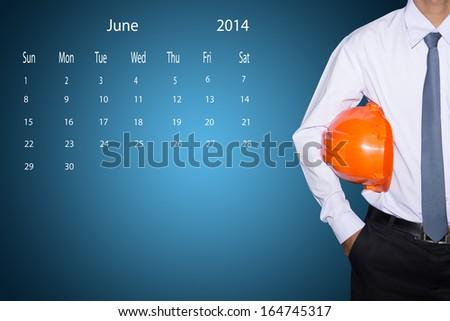 marking  day on June 2014 calendar   - stock photo