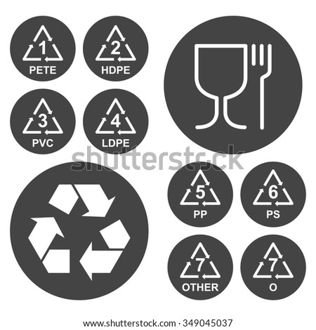 Marking of plastic utensils icons set on dark round plates, gray and white colors, 2d raster - stock photo