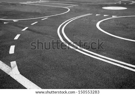 Markings on the village road. - stock photo