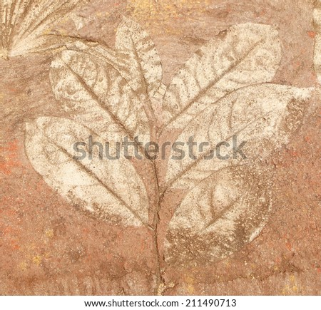 marks of leaf on the concrete - stock photo