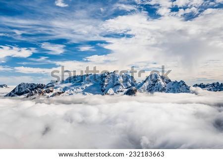 Marmolada summit in Dolomites in winter - stock photo