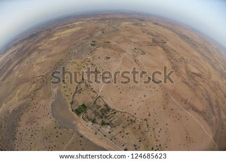 Maroc Marrakech desert aerial view from balloon - stock photo