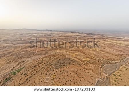 Maroc Marrakech desert aerial view from baloon - stock photo