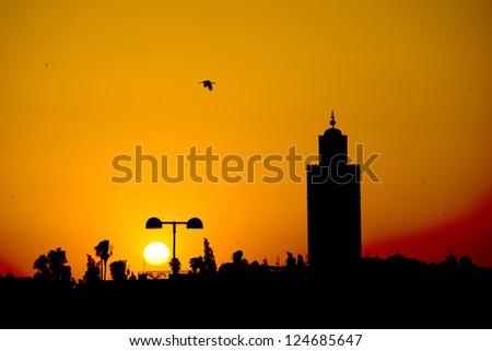 Maroc Marrakech sunset view - stock photo