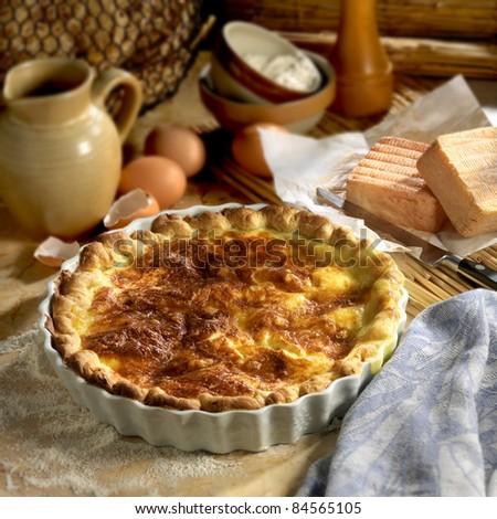 Maroilles savoury tart - stock photo