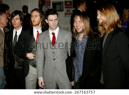 Maroon 5 attends the Global Green USA Pre-Oscar Celebration to Benefit Global Warming held at the The Avalon in Hollywood, California on February 21, 2007.  - stock photo