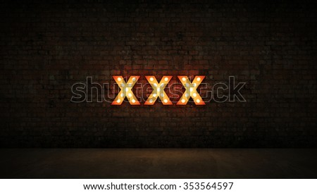 marquee light xxx letter sign, render 3D - stock photo