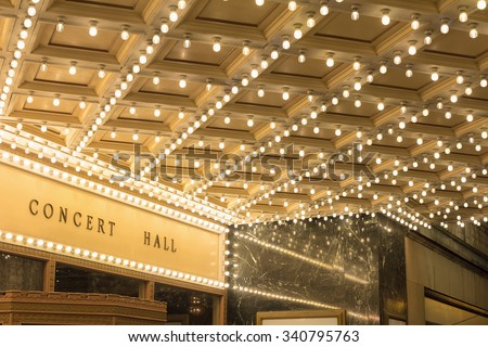 Marquee Lights on Broadway Theater Exterior Entrance Ceiling - stock photo
