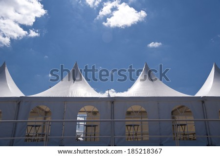 Marquee Tent with blue Sky - stock photo