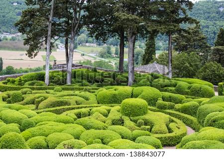 Marqueyssac gardens - nationally registered site. Suspended gardens of pruned boxwoods. - stock photo