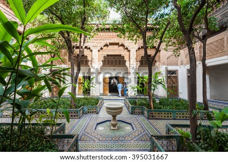 MARRAKECH, MOROCCO - FEBRUARY 22, 2016: The Marrakesh Bahia Palace is a palace and a set of gardens located in Marrakesh, Morocco.  - stock photo