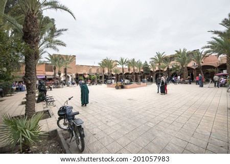 MARRAKECH, MOROCCO, MAY 11, 2014. An open-air market square in Marrakech, Morocco, on May 11th, 2014.   - stock photo
