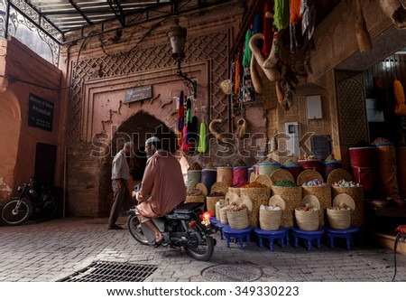 MARRAKECH, MOROCCO - OCTOBER 27, 2015:  Unidentified people at market in Marrakech medina near the UNESCO square Djemaa El-fna at Marrakesh, Morocco - stock photo