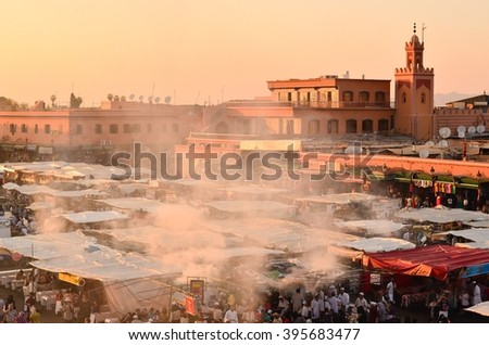 Marrakesh, Morocco - APRIL 16, 2015: Jemaa el-Fnaa Square During Sunset - stock photo