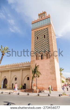 MARRAKESH, MOROCCO, APRIL 3, 2015: Mosque of El Mansour, or Mosque of the Golden Apples is one out of three main mosques in Marrakesh and the largest mosque in the Kasbah area. - stock photo