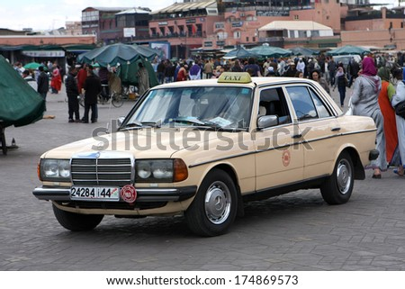 Marrakesh.Morocco-April 6: typical taxi in Djemaa el Fna,Marrakesh,Morocco on 6th april,2012.The square is part of UNESCO world heritage - stock photo