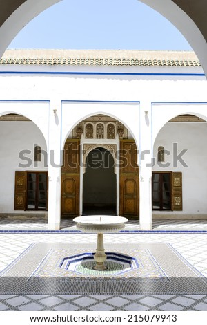 MARRAKESH, MOROCCO- AUGUST 24, 2014:  El Bahia Palace which is visited by tourists from world on 24 August 2014 in Marrakesh, Morocco. It is an example of Eastern Architecture from the 19th century. - stock photo