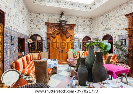 MARRAKESH, MOROCCO - FEBRUARY 29, 2016: Riad in Marrakesh, Morocco. Riad is a traditional Moroccan house or palace with an interior garden or courtyard, Morocco. - stock photo