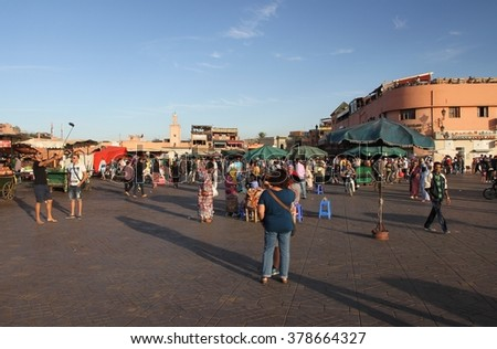MARRAKESH, MOROCCO:  October, 9 A panoramic view of the busy Jemaa el Fna square in the old city of Marrakesh, Morocco on the 9th October, 2015. - stock photo