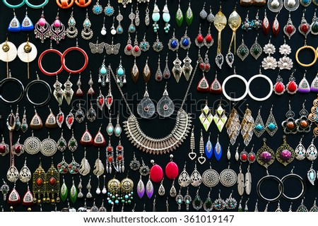 MARRAKESH, MOROCCO, OCTOBER 25, 2015. Jewellery for sale in Marrakesh, Morocco, Africa - stock photo