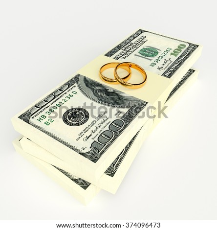 Marriage contract. Two gold wedding rings on the money - stock photo
