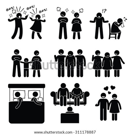 Marriage Family Problem Couple Husband Wife with Counselor  - stock photo