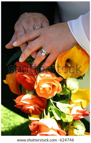 marriage hands - stock photo