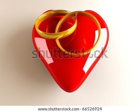 Marriage symbol. 3D rendered Illustration. - stock photo
