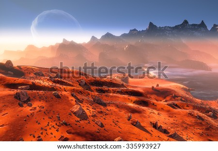 Mars and Phobos moon, Martian landscape, moon over mountains.  Mist and rocks - stock photo