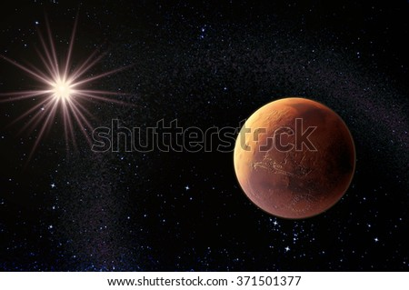 Mars and Sun - 3d render - elements of this image furnished by NASA. - stock photo