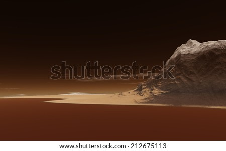 Mars fantastic landscape - stock photo