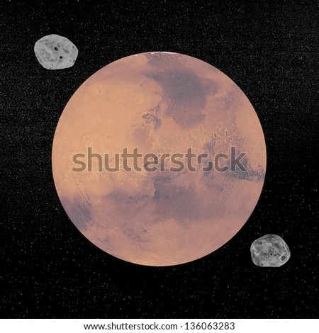 Mars planet and its two sattelites Phobos and Deimos by night. - stock photo