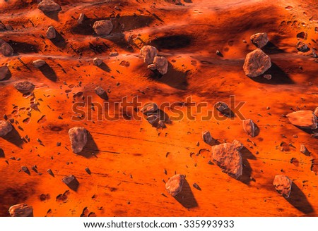 Mars planet surface, red rocks and dry Martian ground, aerial view - stock photo