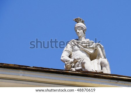 Mars Statue Roof Decoration - stock photo