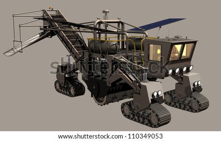 Mars Surface Miner on neutral background - stock photo