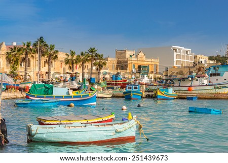 Marsaxlokk harbour in Malta - stock photo
