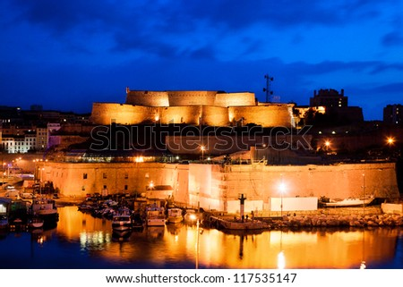 Marseille, France at night. Part of Fort Saint-Jean at the harbour entrance. - stock photo
