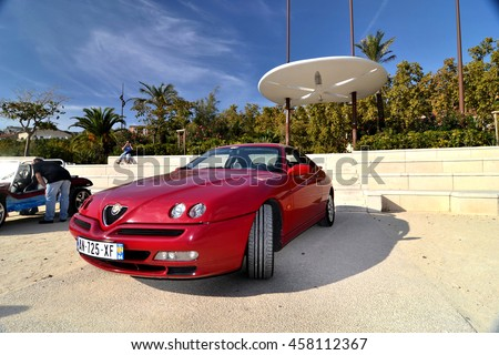 Marseille, France - July 24, 2016 : Italian old car Alpha Romeo pictured during an old cars exhibition in Marseille - stock photo