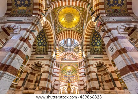 MARSEILLE, FRANCE - MAR 14 :Interior of  Notre-Dame de la Garde Church on March 14, 2016. This Neo-Byzantine church was built by Henri-Jacques Esperandieu on the foundations of an ancient fort. - stock photo