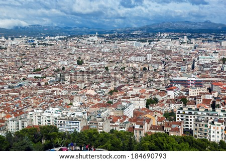 Marseille, France panorama. The famous european harbour. View from the Notre Dame de la Garde - stock photo
